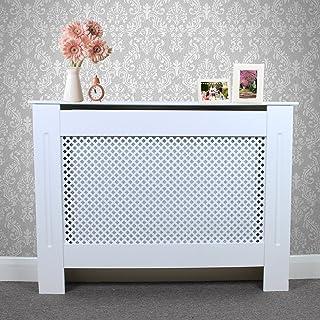 MonsterShop Cubierta de radiador de Madera MDF Pintada en Color Blanco con Rejilla enrejada Moderna para calefacción de Muebles de hogar de 1115 mm