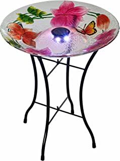 Peaktop 3216980 Outdoor Flower Fusion Glass Solar Bird Baths, 18
