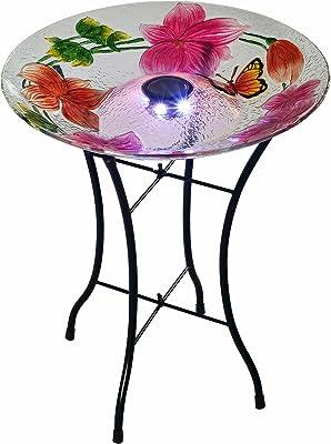 """Peaktop 3216980 Outdoor Flower Fusion Glass Solar Bird Baths, 18"""" White/Pink"""