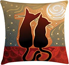 Ambesonne Animal Throw Pillow Cushion Cover, Female and Male Cats in Love Watching Moon Luna on Starry Sky Print, Decorative Square Accent Pillow Case, 18 X 18, Green Orange