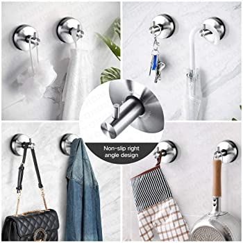 Yohom 2Pcs SUS 304 Stainless Steel Vacuum Suction Cup Hooks Shower Holder - Removable Bathroom Shower Hook Suction To...