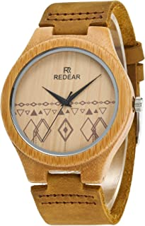REDEAR Women's Banboo Watch with Brown Leather Strap Analog Quartz Movement Casual Lightweight Handmade Wood Wristwatches