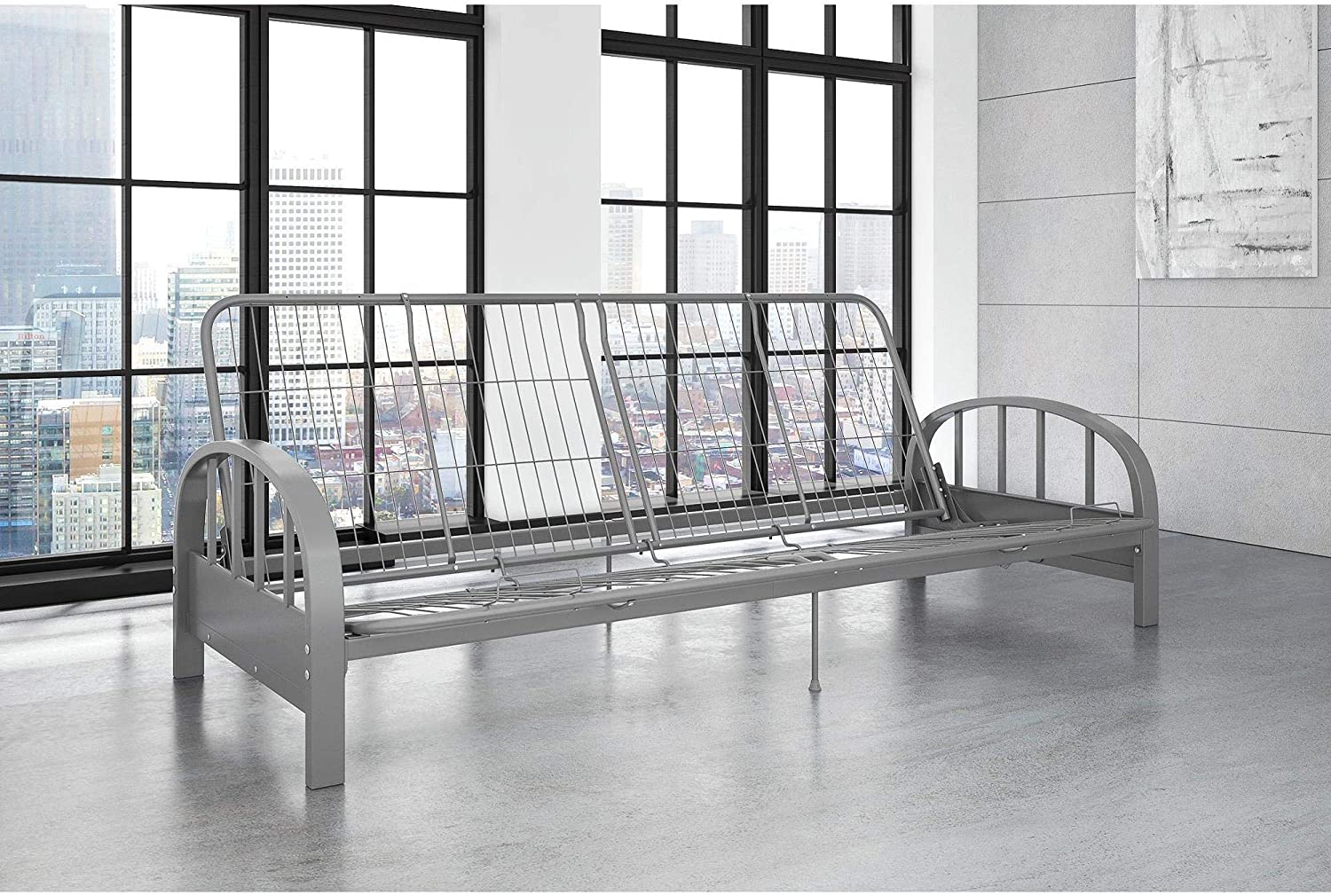 Silver Futon Frame Modern Product Spring new work Contemporary Solid Metal