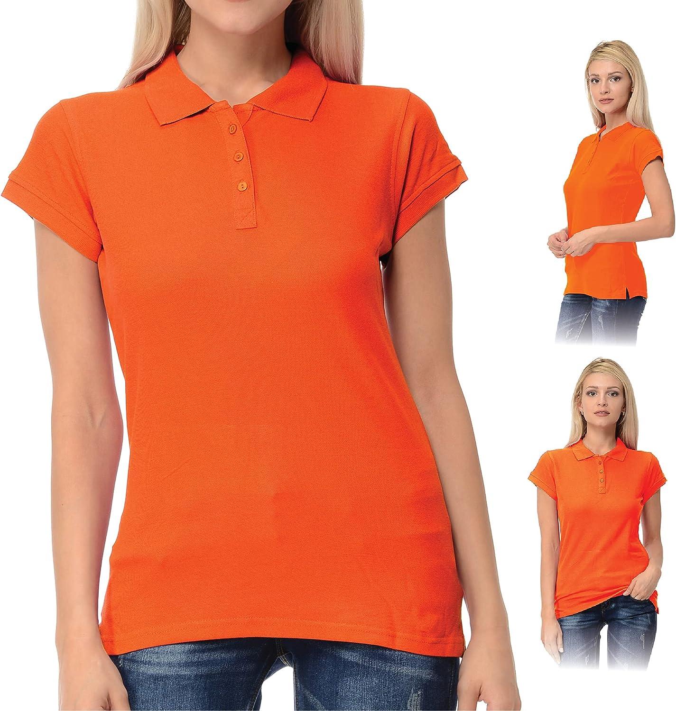FRESH TEE Women's Short Sleeve 100% Cotton Slim Fit Polo Shirt