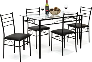 Best Choice Products Home 5-Piece Dining Table Set W/Glass Table Top, 4 Chairs- Black