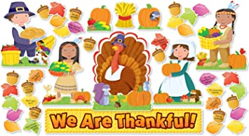 Amazon Com We Are Thankful Bulletin Board Sc546914 Thanksgiving Bulletin Board Office Products