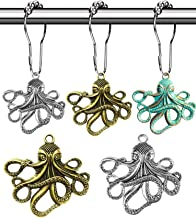 Octopus Decorative Shower Curtain Hooks - Rust Proof Brushed Nickel Rings with Octopus Accessories Set Decorate Bathroom w...