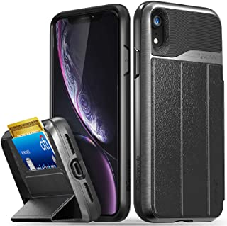 Vena iPhone XR Wallet Case, vCommute (Military Grade Drop Protection) Flip Leather Cover Card Slot Holder with Kickstand Compatible with Apple iPhone XR (Space Gray and Black)