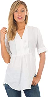 Womens 100% Linen Shirt Casual Pleated Popover Blouse Relaxed Tunic Top