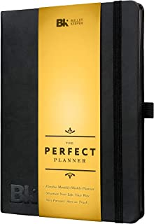 2019-20 The Perfect Planner Undated - Weekly Monthly Non-Dated Organizer- 12 Month Productivity Agenda by Bullet Keeper. A5 Black Vegan Leather Hardcover