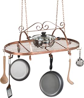 Bronze-Tone Scrollwork Metal Ceiling Mounted Hanging Rack for Kitchen Utensils, Pots, Pans Holder