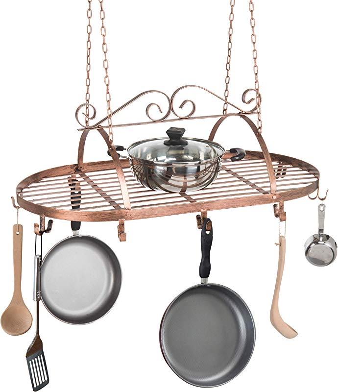 Bronze Tone Scrollwork Metal Ceiling Mounted Hanging Rack For Kitchen Utensils Pots Pans Holder