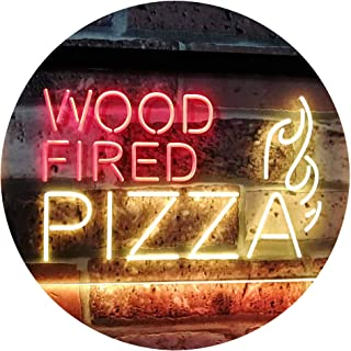 Wood Fired Pizza Dual Color LED Neon Sign Red & Yellow 300 x 210mm st6s32-i2887-ry