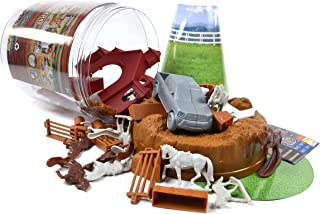Maxx Action Toy Horse Figures with 71Piece Including Horse Trailer, Jumping Fences, Equestrian Riders, Trailer Trucks & More with Storage Container
