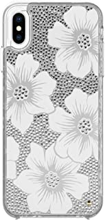Kate Spade New York Phone Case | For Apple iPhone XS Max | Protective Clear Crystal Phone Cases with Slim Design and Drop Protection - Hollyhock Cream / Blush / Crystal Gems