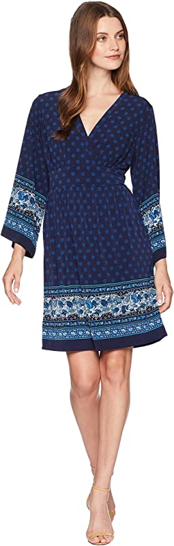 Printed Deep Vee Dress