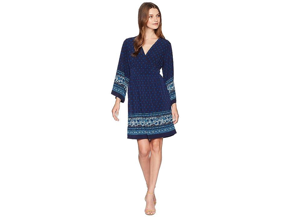 MICHAEL Michael Kors Printed Deep Vee Dress (True Navy/Radiant Blue) Women