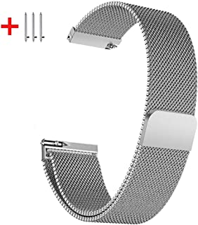 22mm Replacement Strap Compatible for Samsung Galaxy Watch 2 42mm Amazfit Bip Ticwatch2/E/S and other 20mm 22mm Smart Watch Stainless Steel Mesh with Strong Magnetic Bracelet band for Women Men…