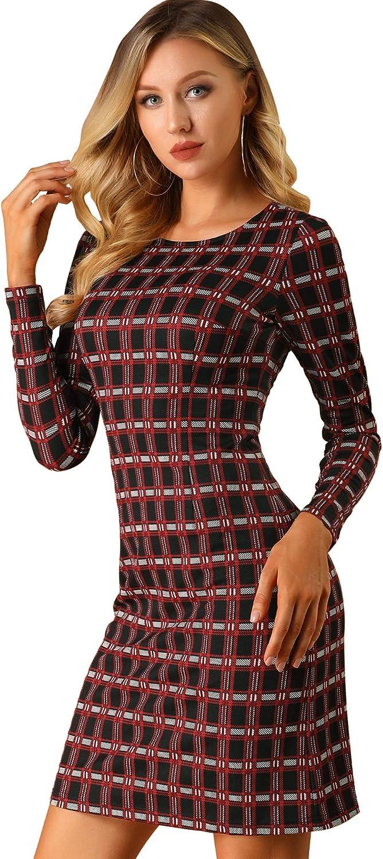 Allegra K Women's Christmas Costume Long Sleeves Plaids Business Sheath Work Office Short Dress