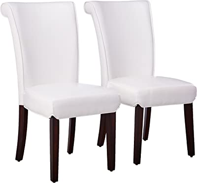 Monarch Specialties Leather-Look High Side Chair, 39-Inch, Taupe, Set of 2