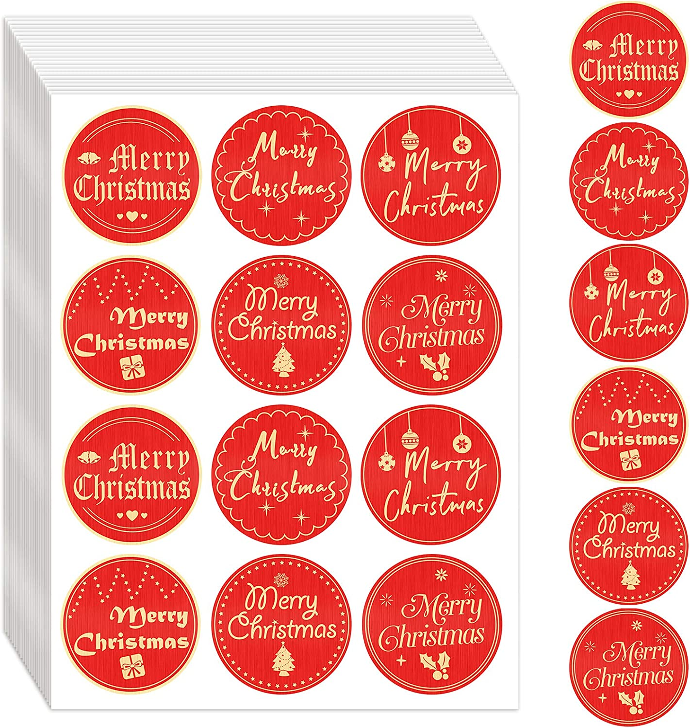 480 Pieces Merry Christmas Stickers Seals 2 Inch Gold Foil Christmas Envelope Stickers Round Christmas Labels for Cards Present Envelopes Boxes, Red