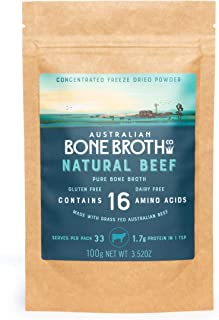 Australian Bone Broth Concentrated Freeze-Dried Powder - Natural Beef Flavor - Broth-on-The-Go Powder- Immune Gut Joint He...