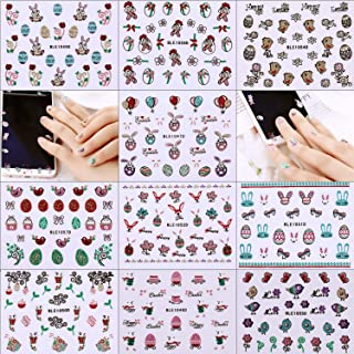 Chuangdi 30 Sheets Easter Nail Stickers 3D Nail Stickers Art Decals for Easter Party Favors, 10 Styles