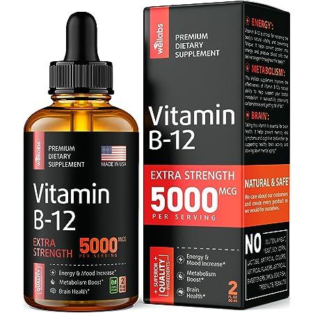 Vitamin B12 Sublingual - Organic B12 Vitamin 5000 MCG - Made in The USA - Methylcobalamin B12 Liquid Supplement - Energy, Mood & Metabolism Increase - Vegan Vitamin B12 Drops