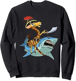 Giraffe Pirate Riding Shark Sword Cute Animal Halloween Gift Sweatshirt