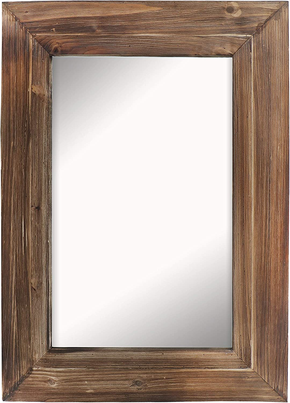 Barnyard Designs Decorative Wall Mirror Rustic Torched Wood Frame greenical Hanging Mirror Wall Decor 32  x 24