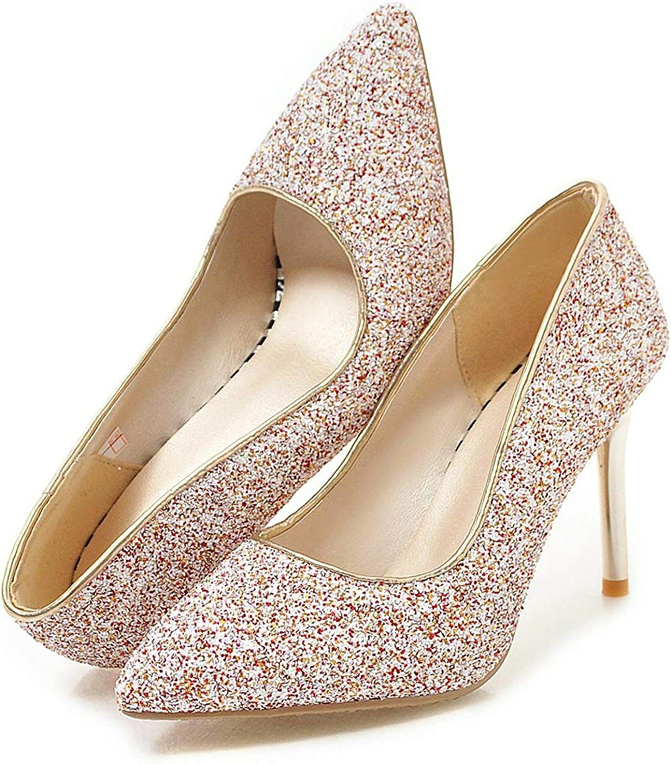 FINDYOU Sequins Cloth Women Pumps Thin High Heels Pointed Toe Nude colors Bling Wedding Party shoes Woman