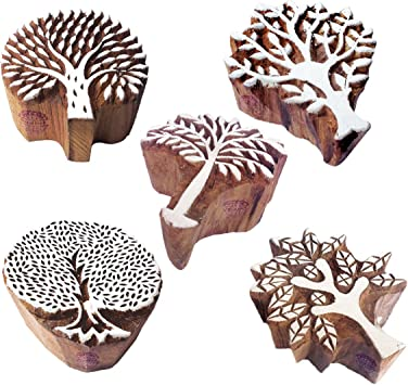 Rose Stalk Flower Hand Carved Floral Wood Fabric Textile Clay Stamp Indian Print Block 169