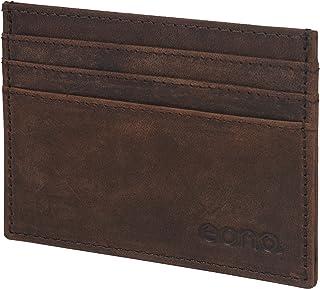 Eono by Amazon - Tarjetero de Cuero con Compartimento para Billetes para Mujer y Hombre con diseño Plano y protección cont...