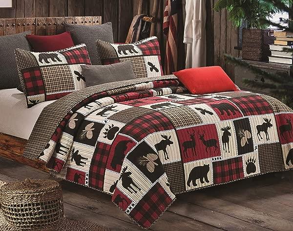 Virah Bella Lodge Life 3pc King Quilt Set Black Bear Paw Moose Cabin Red Buffalo Check Plaid