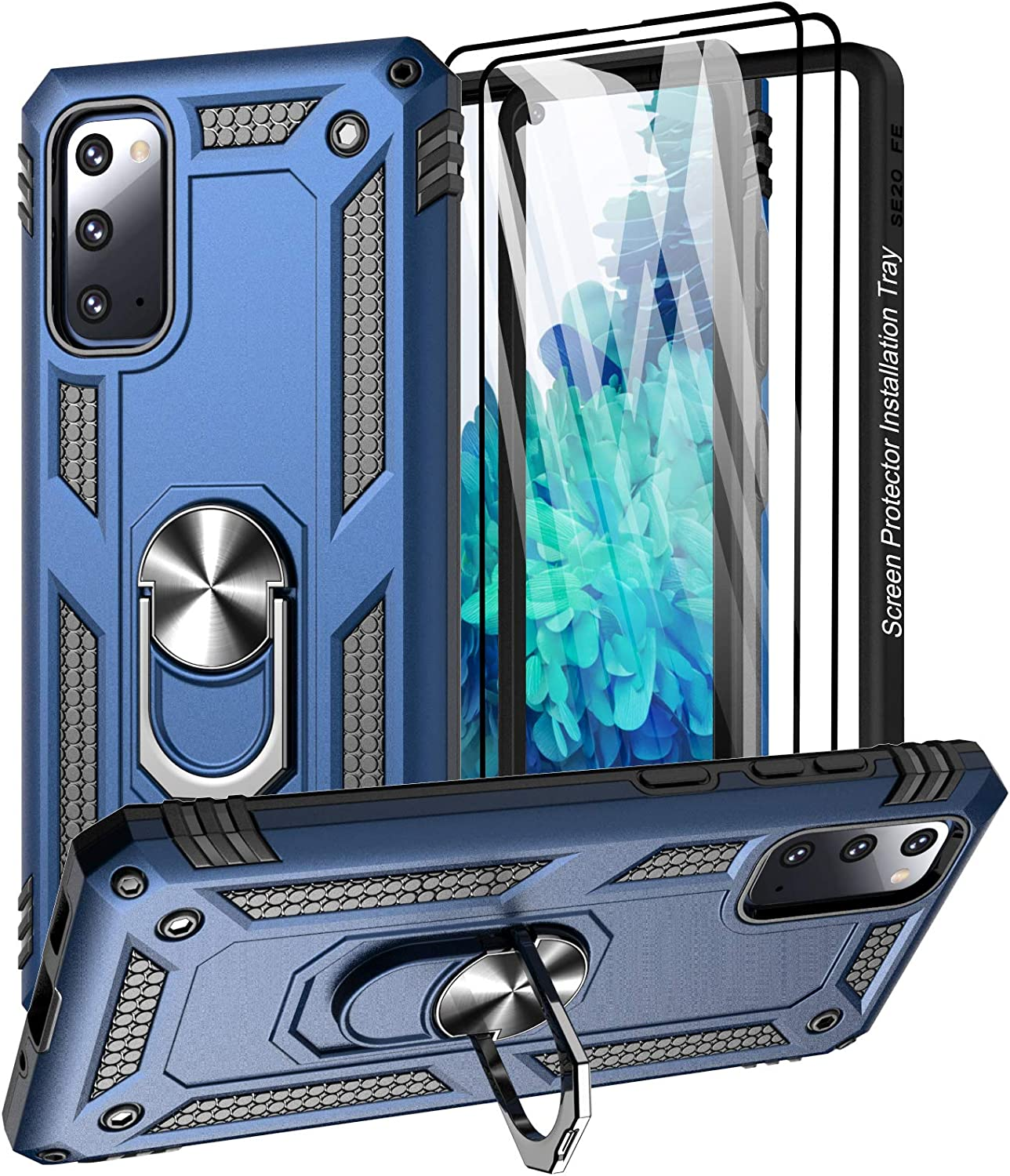 Aliruke Case for Galaxy S20 FE Case with 2 Glass Screen Protector and Align Frame,Military Grade Drop Tested Cover Grip Ring Kickstand Phone Cases for Samsung Galaxy S20 FE 5G/S20 Fan Edition, Blue