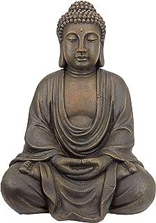 Design Toscano Meditative Buddha of the Grand Temple Garden Statue, Medium 26 Inch, Polyresin, Dark Stone (Renewed)