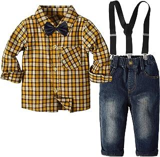 Traje Informal de otoño para bebés pequeños, Pantalones a Cuadros para niños, Pajarita, Tirantes Desmontables, Botones, 4 ...
