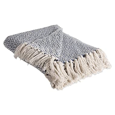 DII Rustic Farmhouse Cotton Diamond Blanket Throw with Fringe For Chair, Couch, Picnic, Camping, Beach, & Everyday Use , 50 x 60  - Double Diamond French Blue