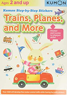 Kumon Step-by-step Stickers: Trains, Planes, And More