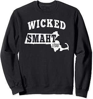 Wicked Smaht Boston Massachusetts Chowda Smart MA Distressed Sweatshirt