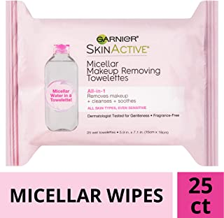 Garnier SkinActive Micellar Makeup Remover Wipes, For All Skin Types, 25 Count