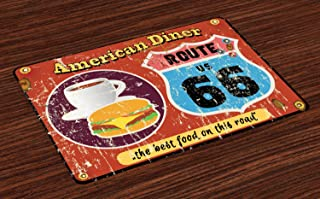 Lunarable Route 66 Place Mats Set of 4, American Diner Old Fashioned Sign Main Street of America Journey Famous Adventure, Washable Fabric Placemats for Dining Table, Standard Size, Multicolor