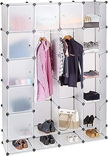 Relaxdays Étagère cubes rangement penderie armoire 18 compartiments chaussures modulable, Plastique, Transparent, 36.5 x 1...