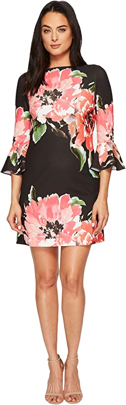Tahari by ASL - Flounce Sleeve Floral Shift Dress