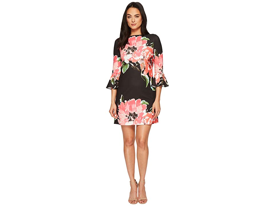 Tahari by ASL Flounce Sleeve Floral Shift Dress (Black/Coral/Pink) Women