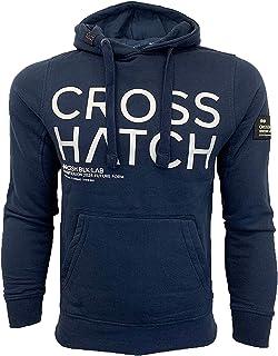 Crosshatch Mens Sweatshirt Over The Head Branded Hoodie Top Fleece Lined New