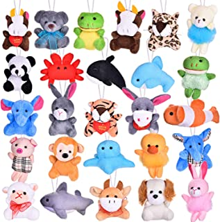 26 Pack Mini Animals Plush Toy Assortment, Cute Stuffed Animals Keychain Toy for Stocking Stuffers, Party Favors, Goodie Bag Fillers