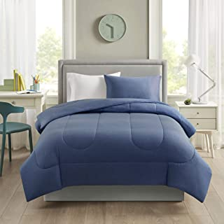 """Comfort Spaces All Season Down Alternative Cozy Bedding with Matching Shams, Cotton Jersey Navy, Twin XL(66""""x90"""")"""