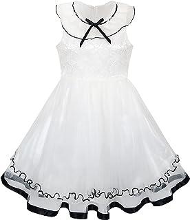子供ドレス 結婚式 入園式 白 フリル 襟 レース 最初 聖体拝領 110/115/125/130/140cm