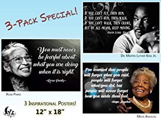 Black History Month Posters 3 Pack MLK Martin Luther King Jr Poster Rosa Parks Posters Classroom Posters Growth Mindset Teacher Decorations Wall Art African American Art Black Art Wall Art PP01
